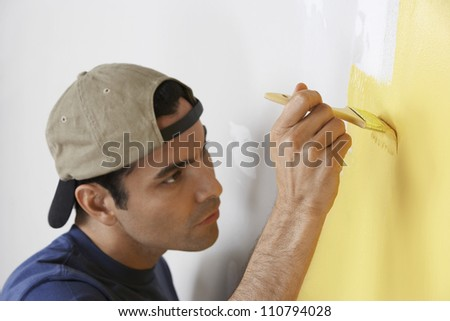 Portrait of a man painting