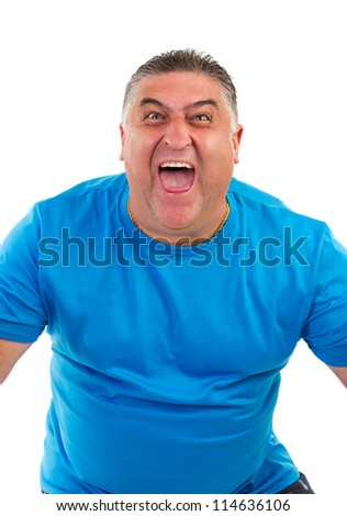 portrait of a man screaming on white background