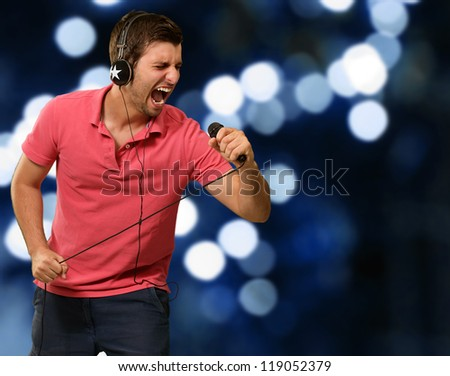 Portrait of a man singing, outdoor