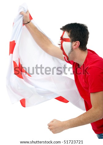 Portrait of a man supporting his team with the english flag painted on his face isolated over white - stock photo