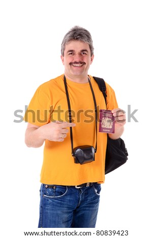 Portrait of a man with a yellow shirt on a white background