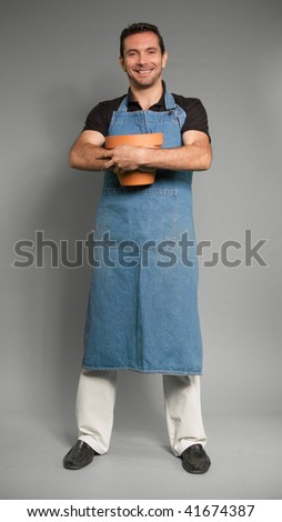 Portrait of a Man with an apron and a flower pot