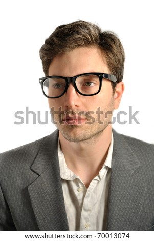 Portrait of a man with glasses.