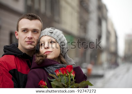 Portrait of a man with his girlfriend dating. Katowice, Poland, Europe