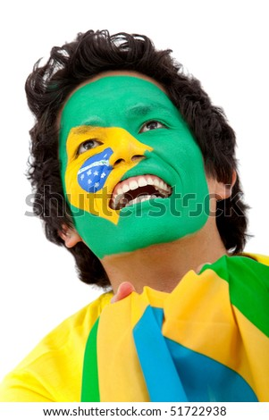 Portrait of a man with the brazilian flag painted on his face isolated over white