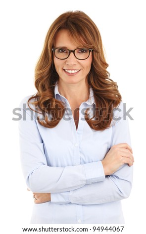 Portrait of a mature business woman smiling. White background.