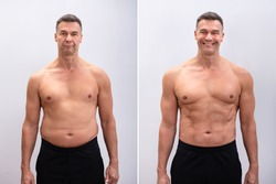 Portrait Of A Mature Man Before And After Weight Loss On White Background. Body shape was altered during retouching