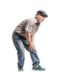 Portrait of a mature man with knee pain. Isolated full body on white background with copy space