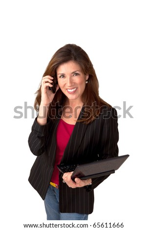Portrait of a mature pretty businesswoman wearing red blouse and a black jacket.  Isolated on white background. She is talking on a cell phone and holding a clip board.