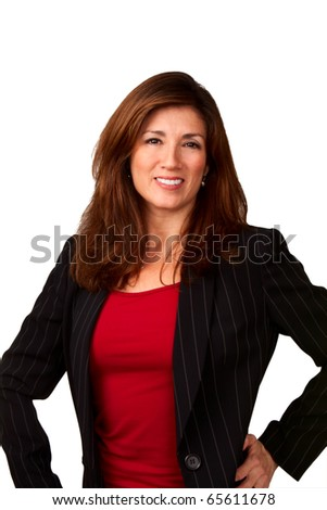 Portrait of a mature pretty businesswoman wearing red blouse and a black jacket.  Isolated on white background.