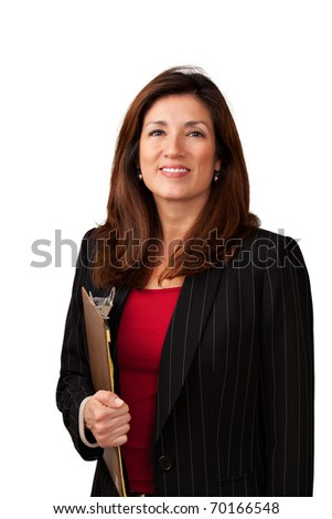 Portrait of a mature pretty businesswoman wearing red blouse and a black jacket. Isolated on white background. Holding a clipboard.