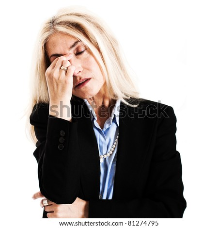Portrait of a mature stressed woman stock photo