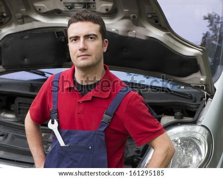 portrait of a mechanic  in auto repair shop