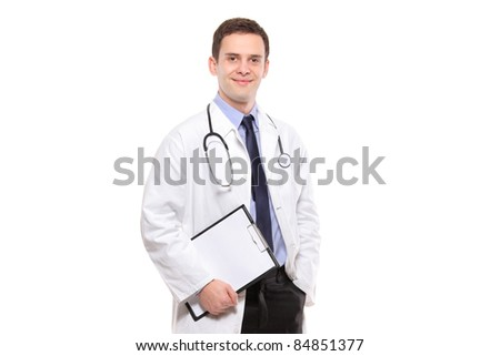 Portrait of a medical doctor holding a clipboard isolated against white background