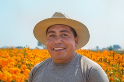 portrait of a Mexican farmer cultivating marigold flower (Tagetes erecta)