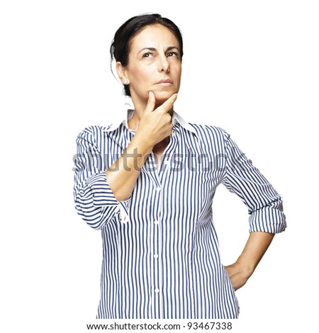 portrait of a middle aged woman thinking against a white background