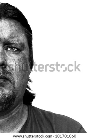 Portrait of a mine worker with a dirty face