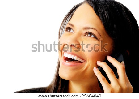 portrait of a mixed race businesswoman laughing while talking on the phone