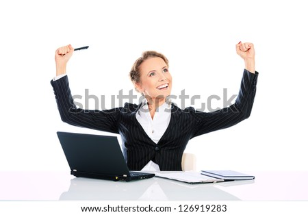 Portrait of a modern businesswoman happy of her success. Isolated over white.