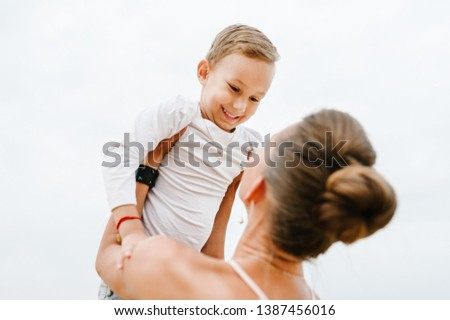 Portrait of mother and son in nature Images and Stock Photos - Page