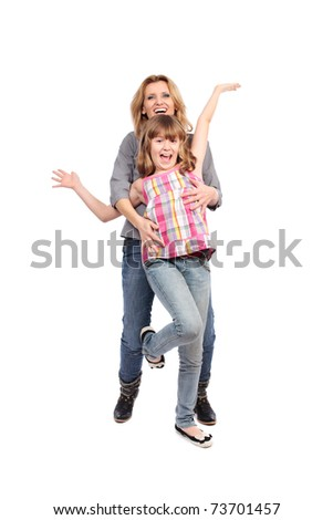 Portrait of a mother with her daughter isolated on white background