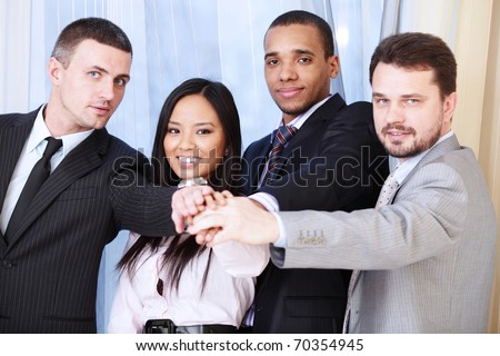 Portrait of a multi ethnic business team. - stock photo