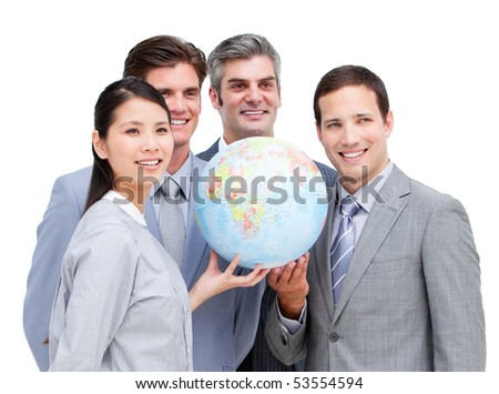 Portrait of a multi-ethnic businessteam holding a terrestrial globe against white background