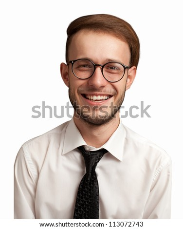 portrait of a nerdy positive businessman isolated on white.