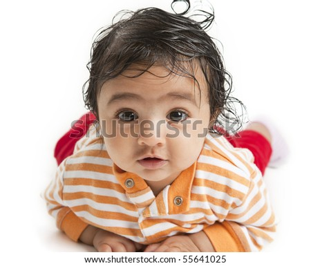 ... of a Newborn Baby Girl On Her Tummy, on white background - stock photo