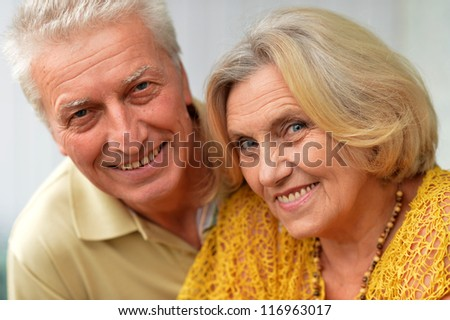 Portrait of a nice elderly couple posing