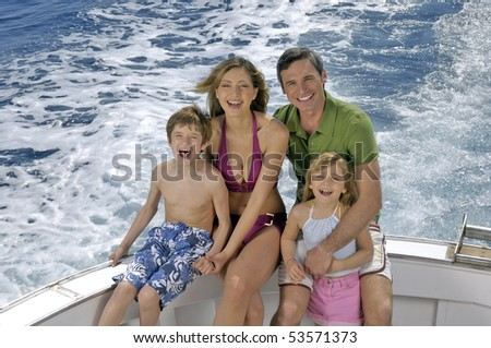 portrait of a nice family on a boat
