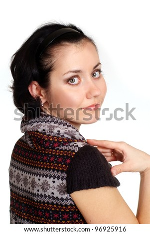 Portrait of a nice woman on a white background