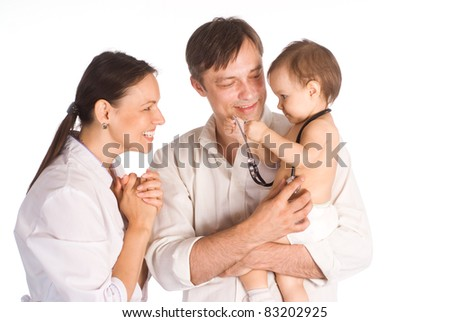 portrait of a nurse with a family