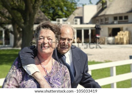 portrait of a  old couple by nature