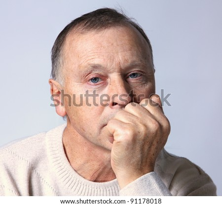 portrait of a old man with serious depression. #91178018
