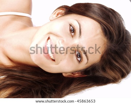 Portrait of a oung woman on white background.