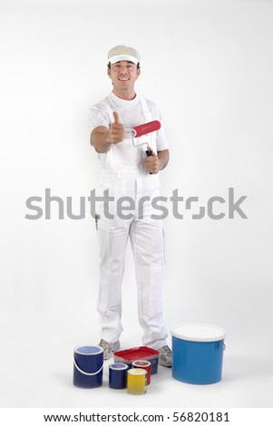 Portrait of a painter on white background