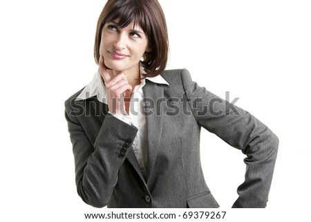 Portrait of a pensive businesswoman on white
