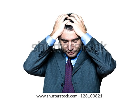 Portrait of a pensive worried businessman with eyes closed in studio on isolated white background