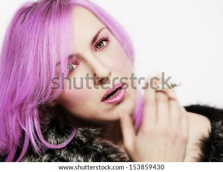 portrait of a pretty fashion girl with Purple Hair