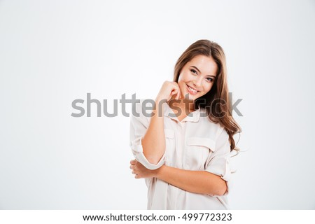 Portrait of a pretty smiling woman posing isolated on a white background