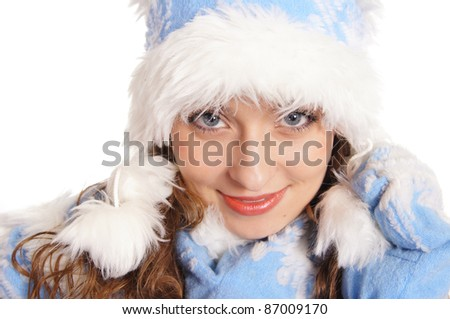 portrait of a pretty snow maiden on white #87009170