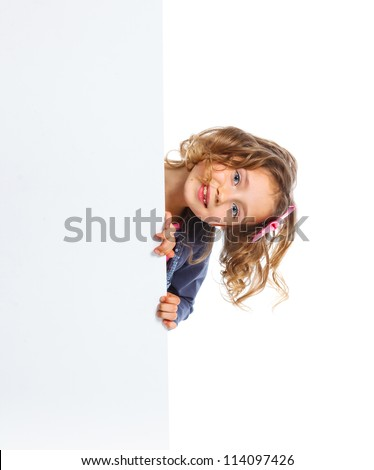 Portrait of A pretty young girl with a blank board