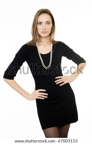 Portrait of a pretty young woman over white background