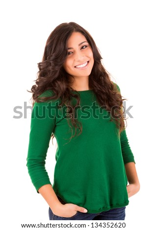 Portrait of a pretty young woman standing against white background