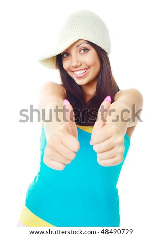 portrait of a pretty young woman  with her thumbs up