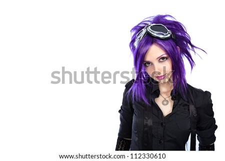 Stock Photo Portrait of a punk girl. Isolated over white background.