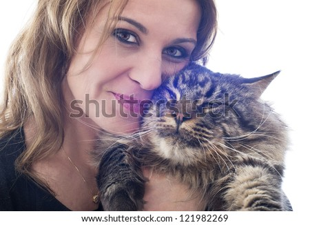 portrait of a purebred  maine coon cat and woman on a white background