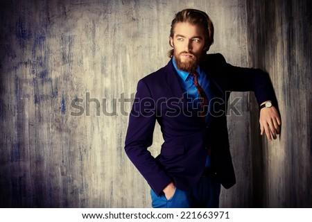 Portrait of a respectable handsome man in a suit. Men\'s fashion.