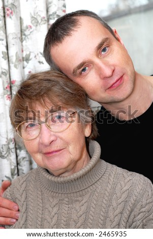Portrait of a retired mother and her son